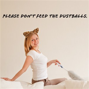 Please don't feed the dustballs. - Vinyl Wall Decal - Wall Quote - Wall Decor