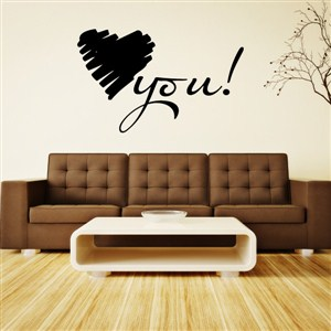 Love You! - Vinyl Wall Decal - Wall Quote - Wall Decor