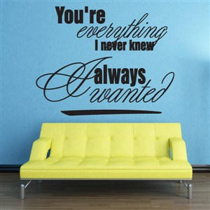 You're everything I never knew Always wanted - Vinyl Wall Decal - Wall Quote - Wall Decor