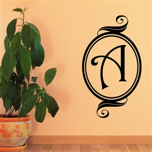 Swirl Frame Monogram - A - Vinyl Wall Decal - Wall Quote - Wall Decor
