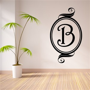 Swirl Frame Monogram - B - Vinyl Wall Decal - Wall Quote - Wall Decor