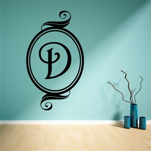 Swirl Frame Monogram - D - Vinyl Wall Decal - Wall Quote - Wall Decor