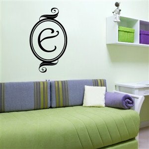 Swirl Frame Monogram - E - Vinyl Wall Decal - Wall Quote - Wall Decor