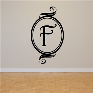 Swirl Frame Monogram - F - Vinyl Wall Decal - Wall Quote - Wall Decor