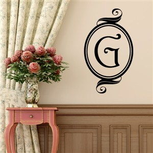 Swirl Frame Monogram - G - Vinyl Wall Decal - Wall Quote - Wall Decor