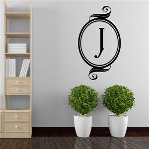 Swirl Frame Monogram - J - Vinyl Wall Decal - Wall Quote - Wall Decor