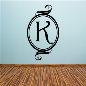 Swirl Frame Monogram - K - Vinyl Wall Decal - Wall Quote - Wall Decor