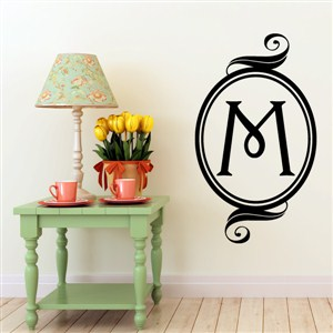 Swirl Frame Monogram - M - Vinyl Wall Decal - Wall Quote - Wall Decor