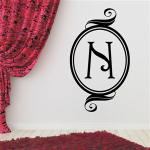 Swirl Frame Monogram - N - Vinyl Wall Decal - Wall Quote - Wall Decor