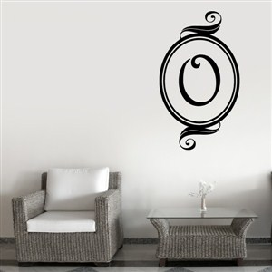Swirl Frame Monogram - O - Vinyl Wall Decal - Wall Quote - Wall Decor