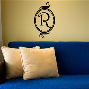 Swirl Frame Monogram - R - Vinyl Wall Decal - Wall Quote - Wall Decor