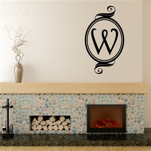 Swirl Frame Monogram - W - Vinyl Wall Decal - Wall Quote - Wall Decor