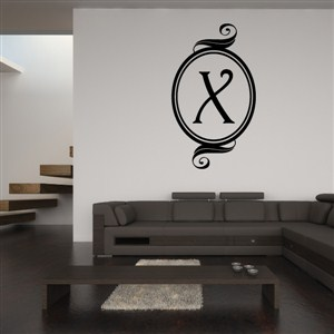 Swirl Frame Monogram - X - Vinyl Wall Decal - Wall Quote - Wall Decor