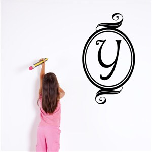Swirl Frame Monogram - Y - Vinyl Wall Decal - Wall Quote - Wall Decor