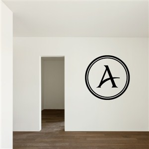 Circle Frame Monogram - A - Vinyl Wall Decal - Wall Quote - Wall Decor