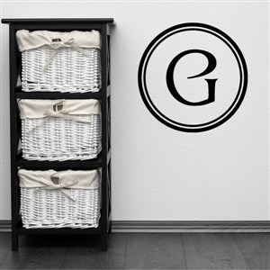 Circle Frame Monogram - G - Vinyl Wall Decal - Wall Quote - Wall Decor