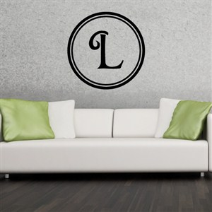 Circle Frame Monogram - L - Vinyl Wall Decal - Wall Quote - Wall Decor