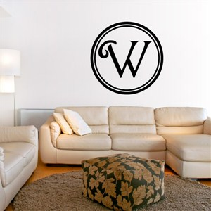 Circle Frame Monogram - W - Vinyl Wall Decal - Wall Quote - Wall Decor