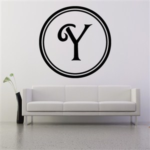 Circle Frame Monogram - Y - Vinyl Wall Decal - Wall Quote - Wall Decor