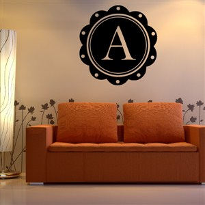 Petal Frame Monogram - A - Vinyl Wall Decal - Wall Quote - Wall Decor