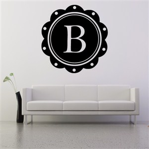 Petal Frame Monogram - B - Vinyl Wall Decal - Wall Quote - Wall Decor