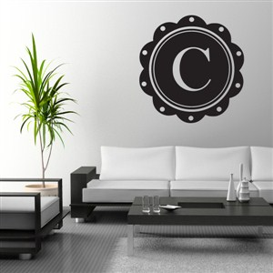 Petal Frame Monogram - C - Vinyl Wall Decal - Wall Quote - Wall Decor