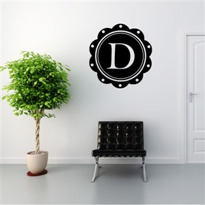 Petal Frame Monogram - D - Vinyl Wall Decal - Wall Quote - Wall Decor