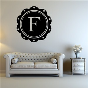 Petal Frame Monogram - F - Vinyl Wall Decal - Wall Quote - Wall Decor