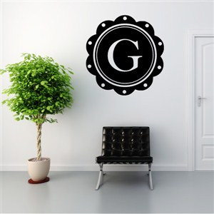 Petal Frame Monogram - G - Vinyl Wall Decal - Wall Quote - Wall Decor