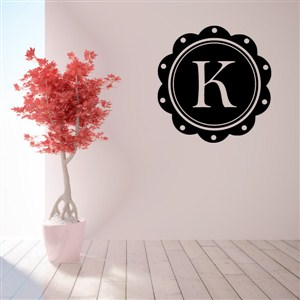 Petal Frame Monogram - K - Vinyl Wall Decal - Wall Quote - Wall Decor