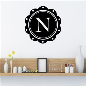 Petal Frame Monogram - N - Vinyl Wall Decal - Wall Quote - Wall Decor