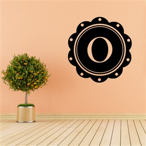 Petal Frame Monogram - O - Vinyl Wall Decal - Wall Quote - Wall Decor