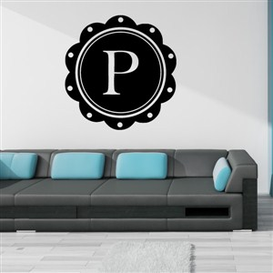Petal Frame Monogram - P - Vinyl Wall Decal - Wall Quote - Wall Decor