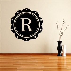 Petal Frame Monogram - R - Vinyl Wall Decal - Wall Quote - Wall Decor
