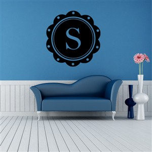 Petal Frame Monogram - S - Vinyl Wall Decal - Wall Quote - Wall Decor