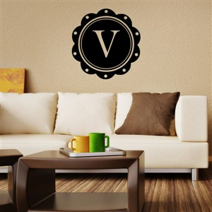 Petal Frame Monogram - V - Vinyl Wall Decal - Wall Quote - Wall Decor