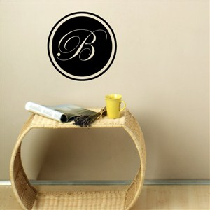 "Edwardian-Style Letter ""B"" Monogram on Circle Wall Decal"