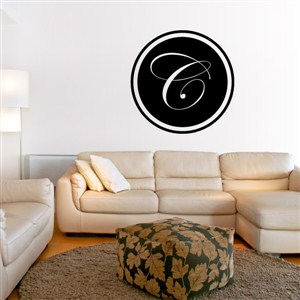 Circle Frame Monogram - C - Vinyl Wall Decal - Wall Quote - Wall Decor