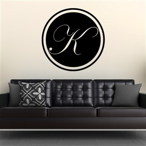 Circle Frame Monogram - K - Vinyl Wall Decal - Wall Quote - Wall Decor