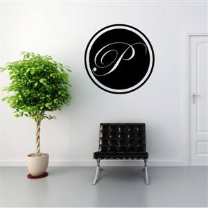 Circle Frame Monogram - P - Vinyl Wall Decal - Wall Quote - Wall Decor