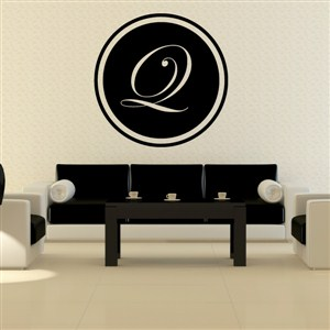 Circle Frame Monogram - Q - Vinyl Wall Decal - Wall Quote - Wall Decor