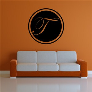 Circle Frame Monogram  - T - Vinyl Wall Decal - Wall Quote - Wall Decor