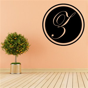 Circle Frame Monogram - Z - Vinyl Wall Decal - Wall Quote - Wall Decor