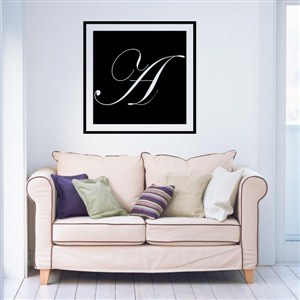 Square Frame Monogram - A - Vinyl Wall Decal - Wall Quote - Wall Decor