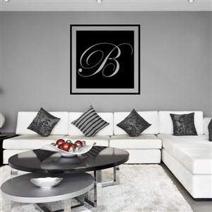 Square Frame Monogram - B - Vinyl Wall Decal - Wall Quote - Wall Decor