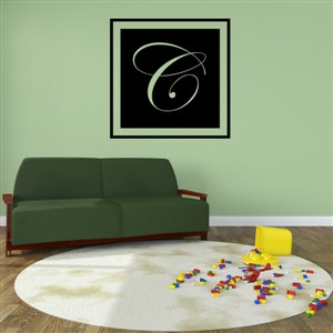 Square Frame Monogram - C - Vinyl Wall Decal - Wall Quote - Wall Decor