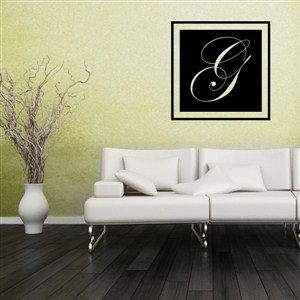 Square Frame Monogram - G - Vinyl Wall Decal - Wall Quote - Wall Decor