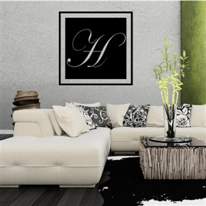 Square Frame Monogram - H - Vinyl Wall Decal - Wall Quote - Wall Decor