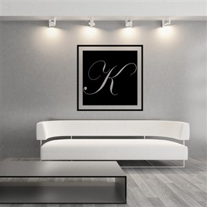 Square Frame Monogram - K - Vinyl Wall Decal - Wall Quote - Wall Decor