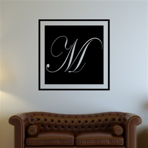 Square Frame Monogram - M - Vinyl Wall Decal - Wall Quote - Wall Decor